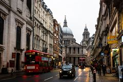 St.Paul's Cathedral through Ludgate Hill Street stock photo