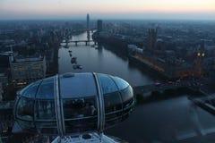 London öga i Waterloo, London - Februari 15th av 2015: Denna är tredjedelen - det största ferrishjulet lite varstans världen Fotografering för Bildbyråer