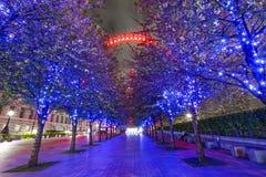 London öga på natten med ljusa slingor Arkivfoton