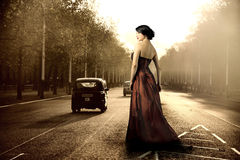 London. Elegant woman standing in a london city street Royalty Free Stock Photo