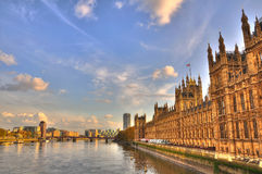 London. The River Thames and the Houses of Parliament late in the afternoon, London, England royalty free stock image