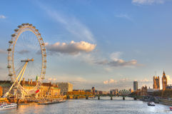 London. The River Thames, Big Ben and the Eye of London late in the afternoon, London, England royalty free stock photo