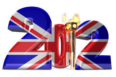 London 2012. An XXXL Large 3d Render of a simple illustration of the number 2012 in the colors of the union jack where the 1 has been replaced by a torch for the Royalty Free Stock Photo