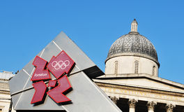 London 2012. London, UK - 18 Nov, 2011: London Olympics 2012 official logo against the old architecture of National Gallery in Trafalgar Square Stock Image