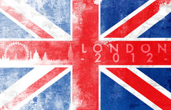 London 2012. United kingdom painted flag with London skyline Stock Photos