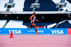 London 2012: athlete running. Disabled athlete at the Visa London Disability Athletics Challenge at the Olympic Stadium in London on May 8, 2012. The event is Stock Images
