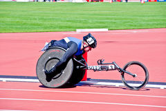 London 2012: athlete on wheelchair. Disabled athlete at the Visa London Disability Athletics Challenge at the Olympic Stadium in London on May 8, 2012. The event Stock Image