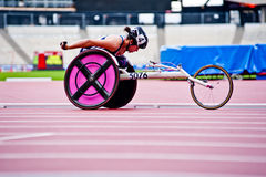 London 2012: athlete on wheelchair. Athlete at the Visa London Disability Athletics Challenge at the Olympic Stadium in London on May 8, 2012. The event is part Royalty Free Stock Photos