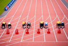 London 2012: Athleten betriebsbereit zu laufen Stockfotografie