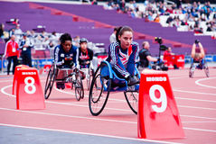 London 2012: athletes on wheelchair. Athletes at the Visa London Disability Athletics Challenge at the Olympic Stadium in London on May 8, 2012. The event is Stock Image