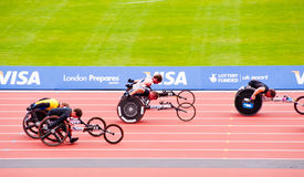 London 2012: athletes on wheelchairs. Athletes at the Visa London Disability Athletics Challenge at the Olympic Stadium in London on May 8, 2012. The event is Stock Photography