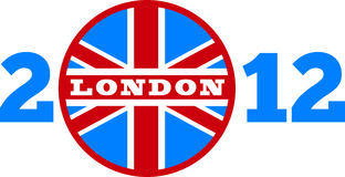 London 2012 British Union Jack flag. Illustration of a an icon with Great Britain  British Union Jack flag and words London 2012 on isolated white background Stock Photo