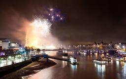 London 2012 Fireworks. 2012 New Years Firework taken at Waterloo Bridge with a view of London Eye Stock Photo