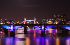London 2012, floodlit bridges,. Olympic rings on the Tower bridge stock images