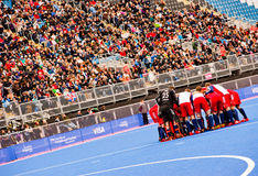 London 2012: Hockey british team. GB Hockey Team during the London prepares series at the Olympic park in London on May 6, 2012. The London Prepares series is Stock Image