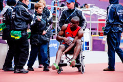 London 2012: injured athlete on wheelchair. Injured athlete during the London prepares series at the Oympic park in London on May 6, 2012. The London Prepares Stock Images