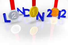 London 2012 with Medals and reflection Stock Photos