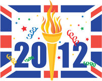 London 2012 Olympic games celebration. Illustration of London 2012 Olympic games celebration with olympic torch and union jack Royalty Free Stock Image