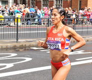 London 2012 Olympic Marathon. London, UK - August 05, 2012:Gabriela Trana representing Costa Rica runs the Women's Olympic Marathon at London 2012 Royalty Free Stock Photo