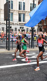 London 2012 Olympic Marathon. London, UK - August 05, 2012: Tiki Gelana, the winner of the London Olympic Marathon and Kenya's Priscah Jeptoo, the silver Stock Image