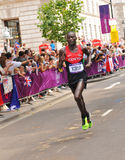 London 2012 Olympic Marathon. London, 12 August, 2012: Kenia's long distance runner Kirui Abel heads towards the second place of the London 2012 Olympic Marathon Royalty Free Stock Photo