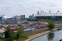 London 2012 Olympic Park. View of the Olympic Park, Stadium and Aquatic Centre,from Hackney Wick.The Olympic park is under construction for the London 2012 Royalty Free Stock Photo