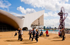 London 2012: olympic park. People walking on a sunny day inside the London 2012 olympic park Royalty Free Stock Images