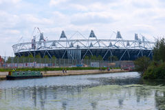 London 2012 Olympic Stadium. View of the Olympic Stadium from Hackney Wick across the canal. The Olympic park is under construction for the London 2012 Olympic Stock Photography