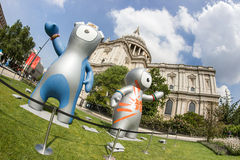 London 2012 Olympics mascot. The London 2012 Olympics games mascot, Wenlock and Mandeville, in front of the Saint Paul's Cathedral. London 2012 Royalty Free Stock Images