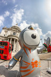 London 2012 Olympics mascot. The London 2012 Olympics games mascot, Wenlock, in front of the Saint Paul's Cathedral. London 2012 Royalty Free Stock Images