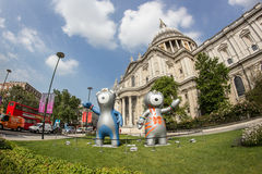 London 2012 Olympics mascot. The London 2012 Olympics games mascot, Wenlock and Mandeville, in front of the Saint Paul's Cathedral. London 2012 Stock Images