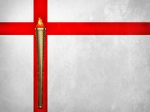 London 2012 Olympics Torch. Olympic torch and fire with united kingdom flag background Stock Photos