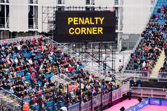 London 2012: penalty corner. London prepares series at the Oympic park in London on May 6, 2012. The London Prepares series is the official London 2012 sports Royalty Free Stock Image