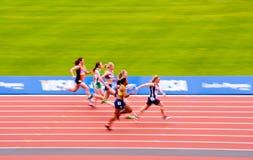 London 2012: Rennen der Bewegung unscharfen Frauen Stockbilder