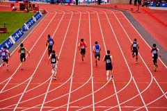 London 2012: running in the olympic stadium. Men's 200m at the London prepares series at the Oympic park in London on May 6, 2012. The London Prepares series is Royalty Free Stock Photography