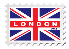 London 2012 stamp. Concept with union jack flag Stock Photos