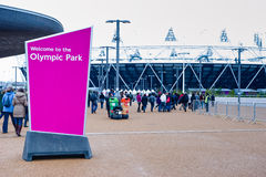 London 2012: welcome to the olympic park Stock Photography