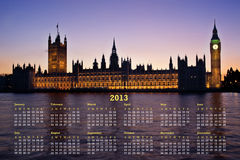 London 2013 Calendar Royalty Free Stock Photography