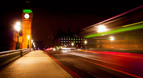London. Westminster Bridge in London at night with Big Ben and bus Royalty Free Stock Photography