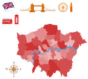 London. City map of London, pictures of a monuments Royalty Free Stock Images
