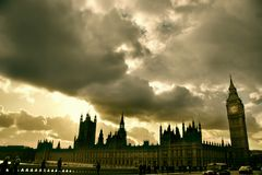 London. Big Ben with a sunset, London Royalty Free Stock Image