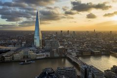 London from above at sunset stock photos