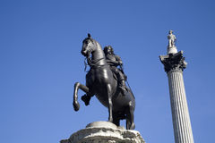 London - admiral Nelson column and King Charles I Royalty Free Stock Photo