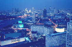 London aerial view. London night scene aerial view of business district Royalty Free Stock Image