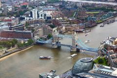 London aerial view. With Tower Bridge and River Thames royalty free stock photo