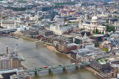 London aerial view. London City aerial view with St. Paul's Cathedral royalty free stock images