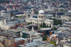 London aerial view. London City aerial view with St. Paul's Cathedral stock images