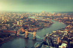London aerial view with Tower Bridge. In sunset time stock images