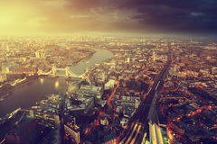 London aerial view with Tower Bridge. In sunset time royalty free stock photography