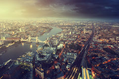 London aerial view with Tower Bridge. In sunset time stock photo